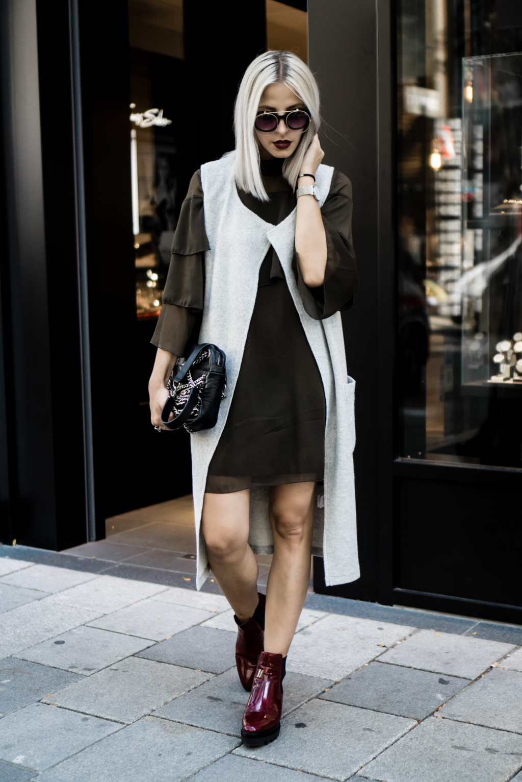 Frilled Dress and Chunky Platform Boots