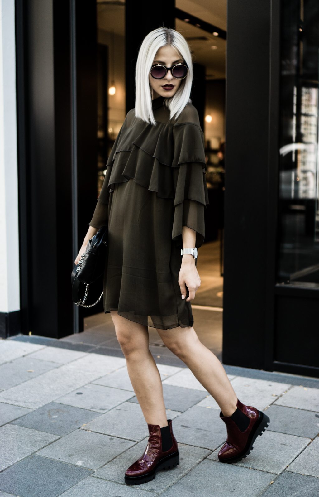 How to Combine Frilled Dress and Chunky Platform Boots