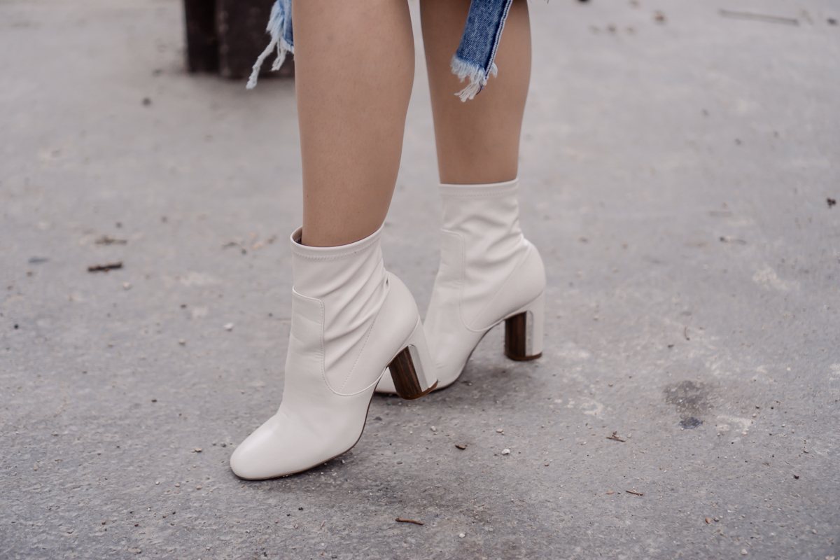 How to Wear White Block Heel Ankle Boots