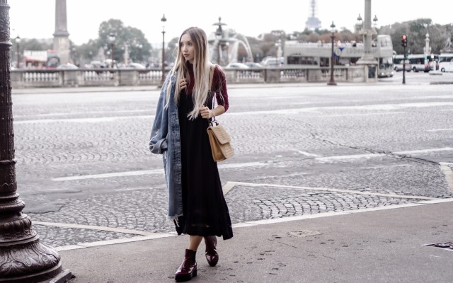 Paris Day 2   Flounced Dress, Oversized Denim Coat, Brogue Boots