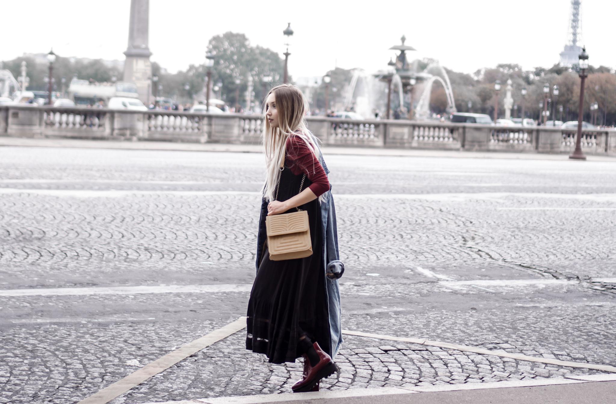 Slip Dress, Oversized Denim Jacket, Brogue Ankle Boots