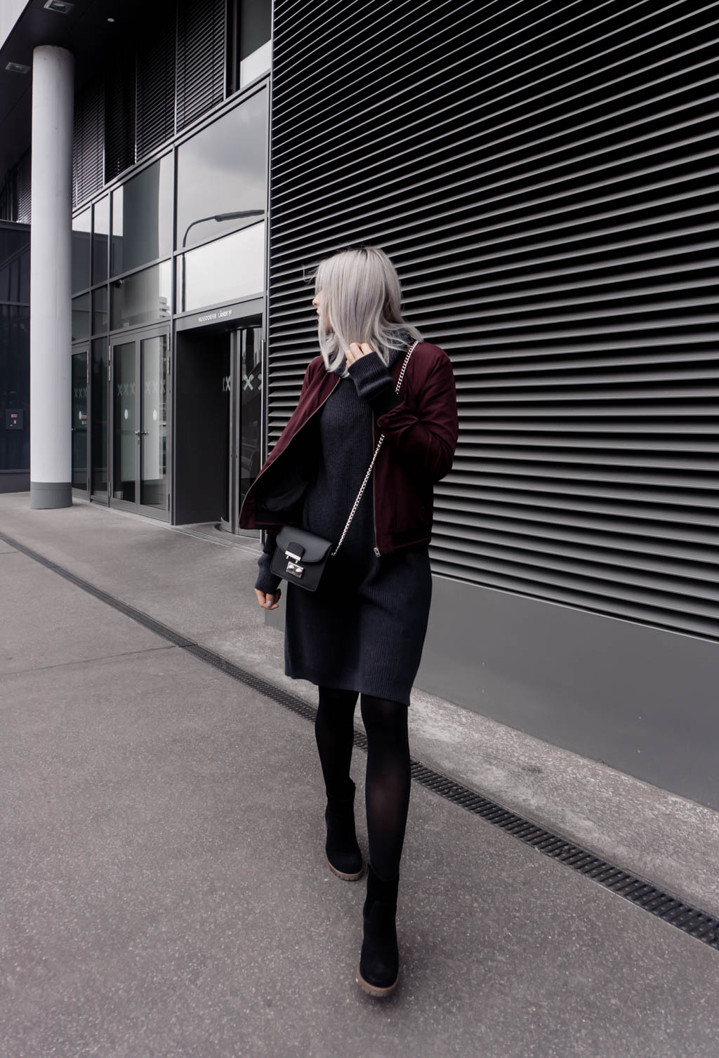 The Cosmopolitas Outfit: Knit Dress and Burgundy Bomber Jacket