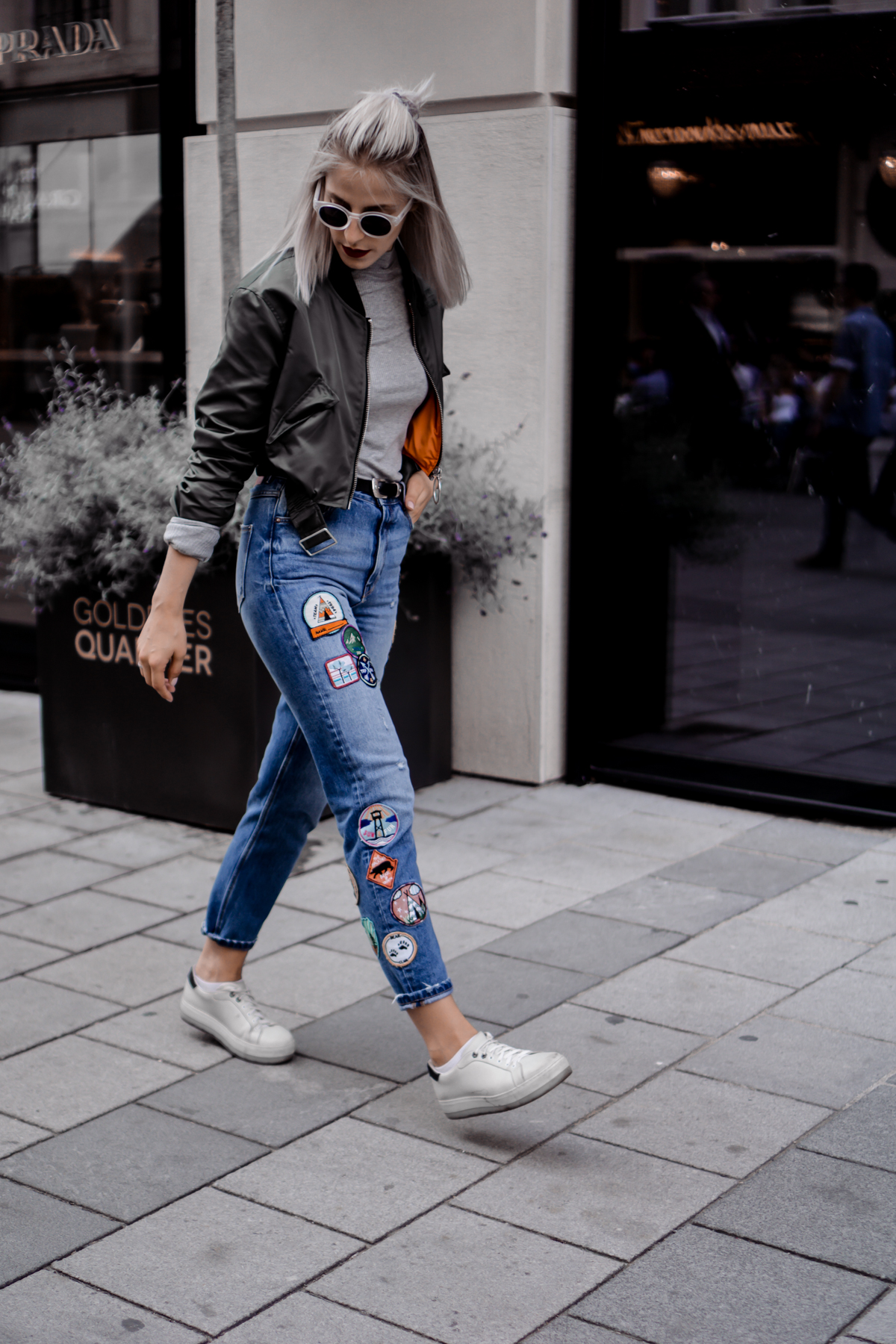 White Sunnies, Mom Jeans With Patches and Bomber Jacket
