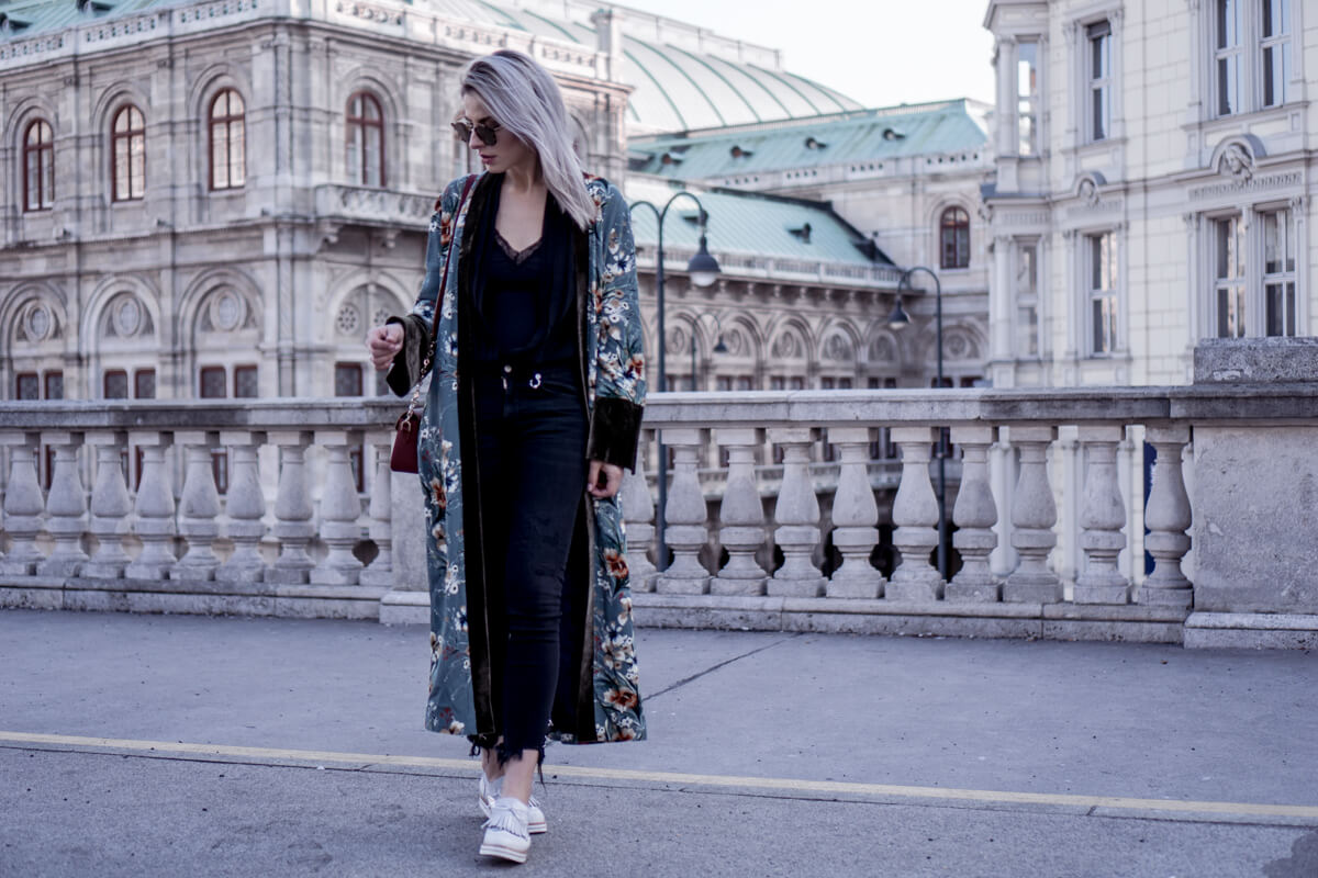 Long Floral Zara Kimono, White Brogues Destroyed Bald Jeans