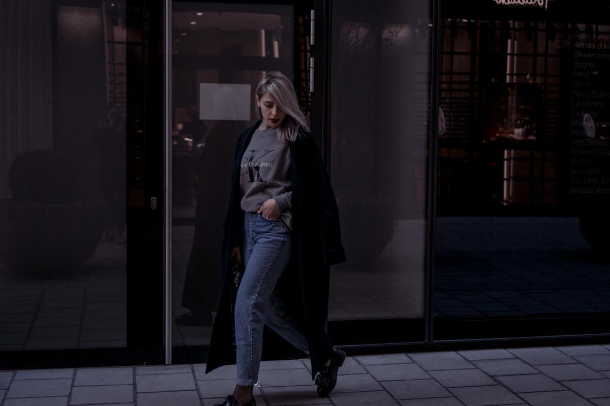 Fishnet Tights, Mom Jeans, Oversized Coat, Calvin Klein Logo Sweater