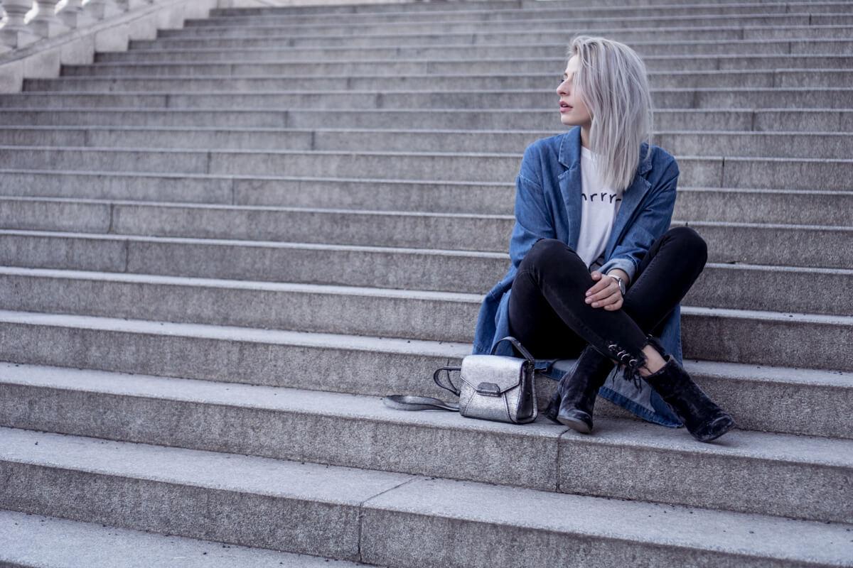 Jeans and Metallic Diesel Bag