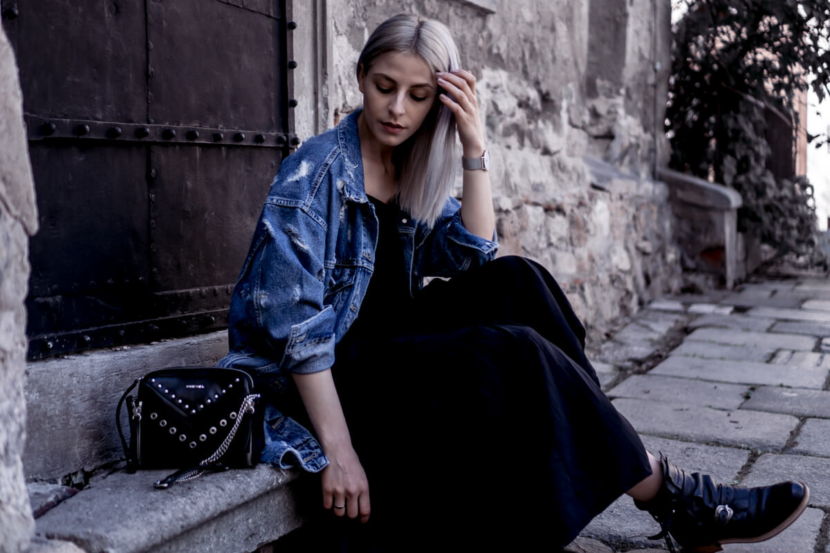 Denim Jacket combined with a maxi dress and black boots