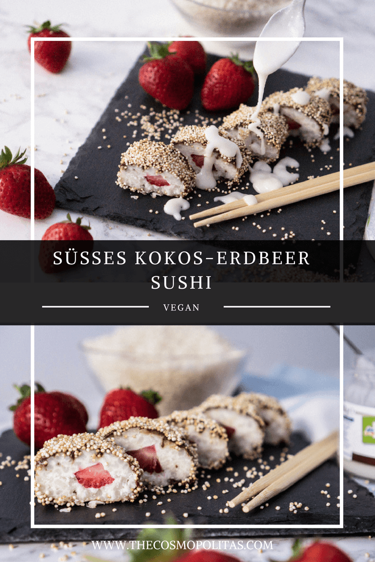 Sushi als Dessert, süßes Kokos-Erdbeer Sushi, vegan, glutenfrei