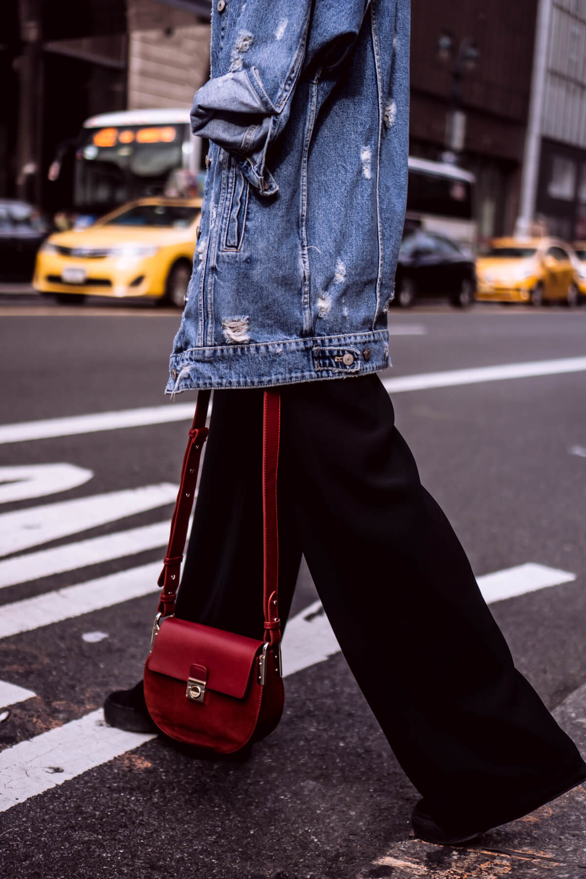 Wide-leg pants and oversized denim jacket