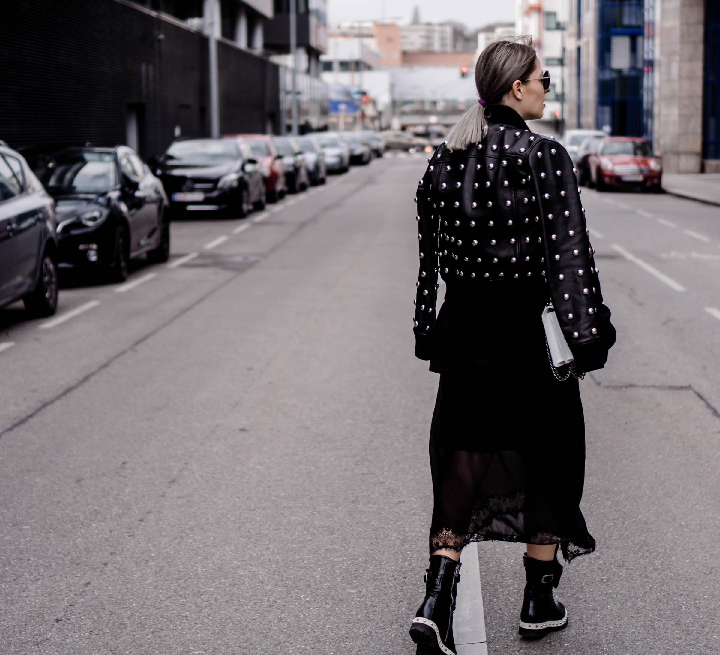 Lilles Lederjacke von Diesel Black Gold mit Nieten