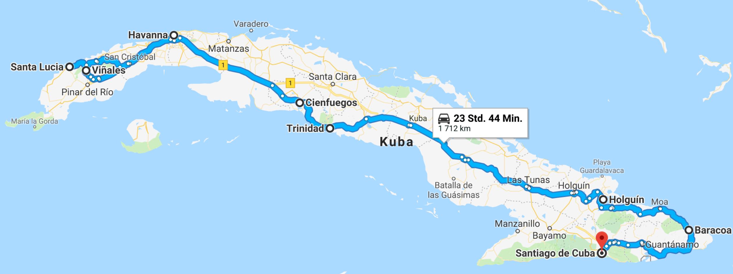 Reiseroute mit dem Auto Kuba 2017