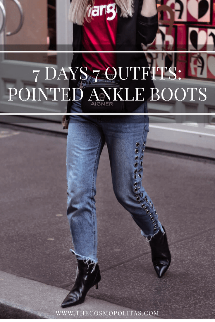 7 Days 7 Outfits: Pointed Toe Ankle Boots