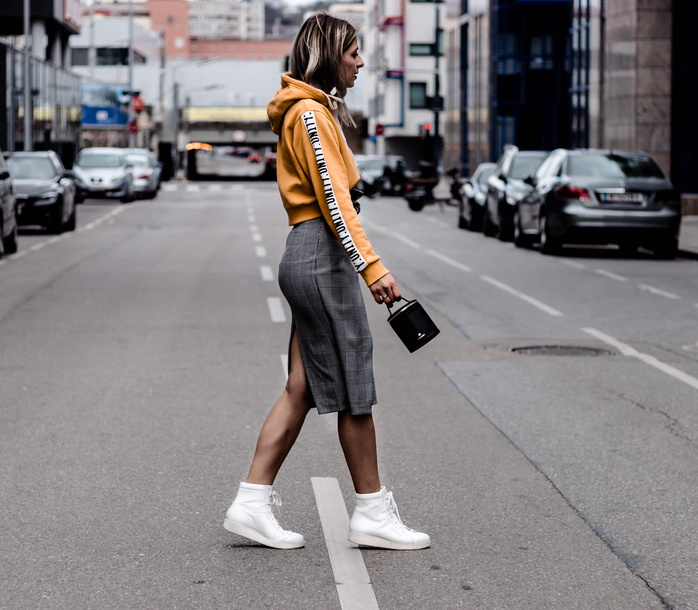 Pencil Skirt, Hoodie and Sneakers