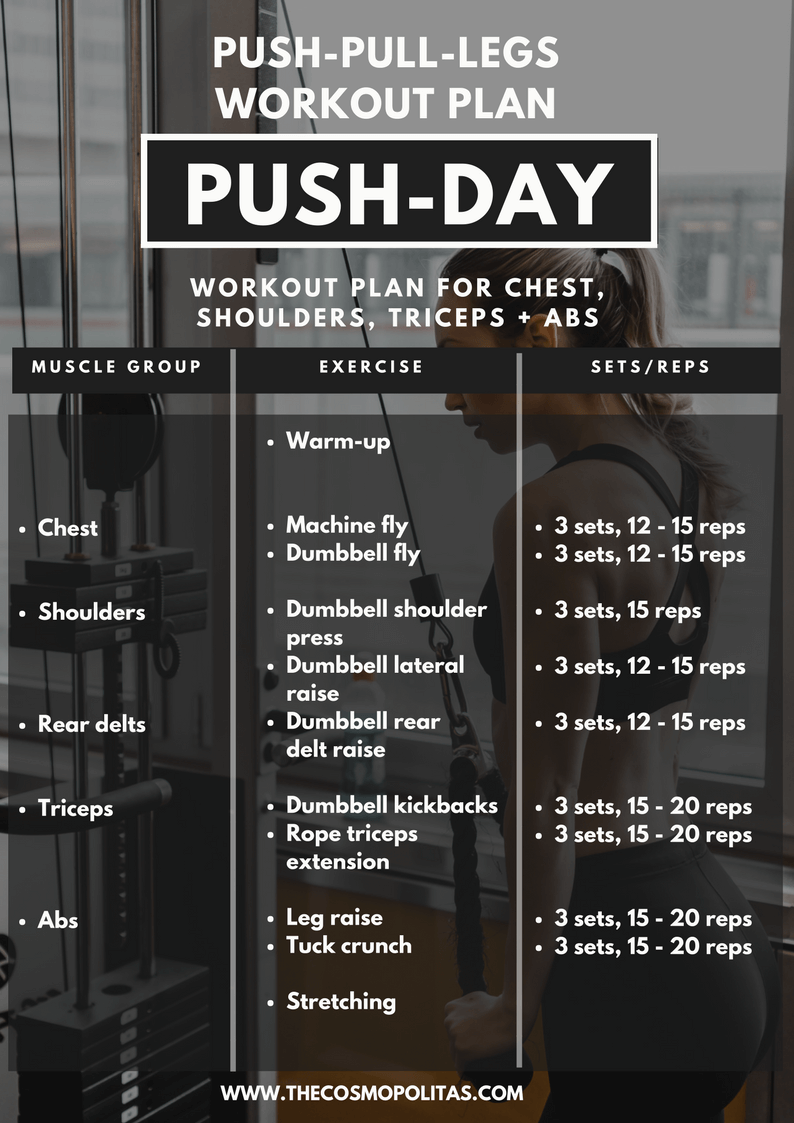 My Workout Routine 2 2018 3 Day Split Push Pull Legs Workout Plan Exercises The Cosmopolitas