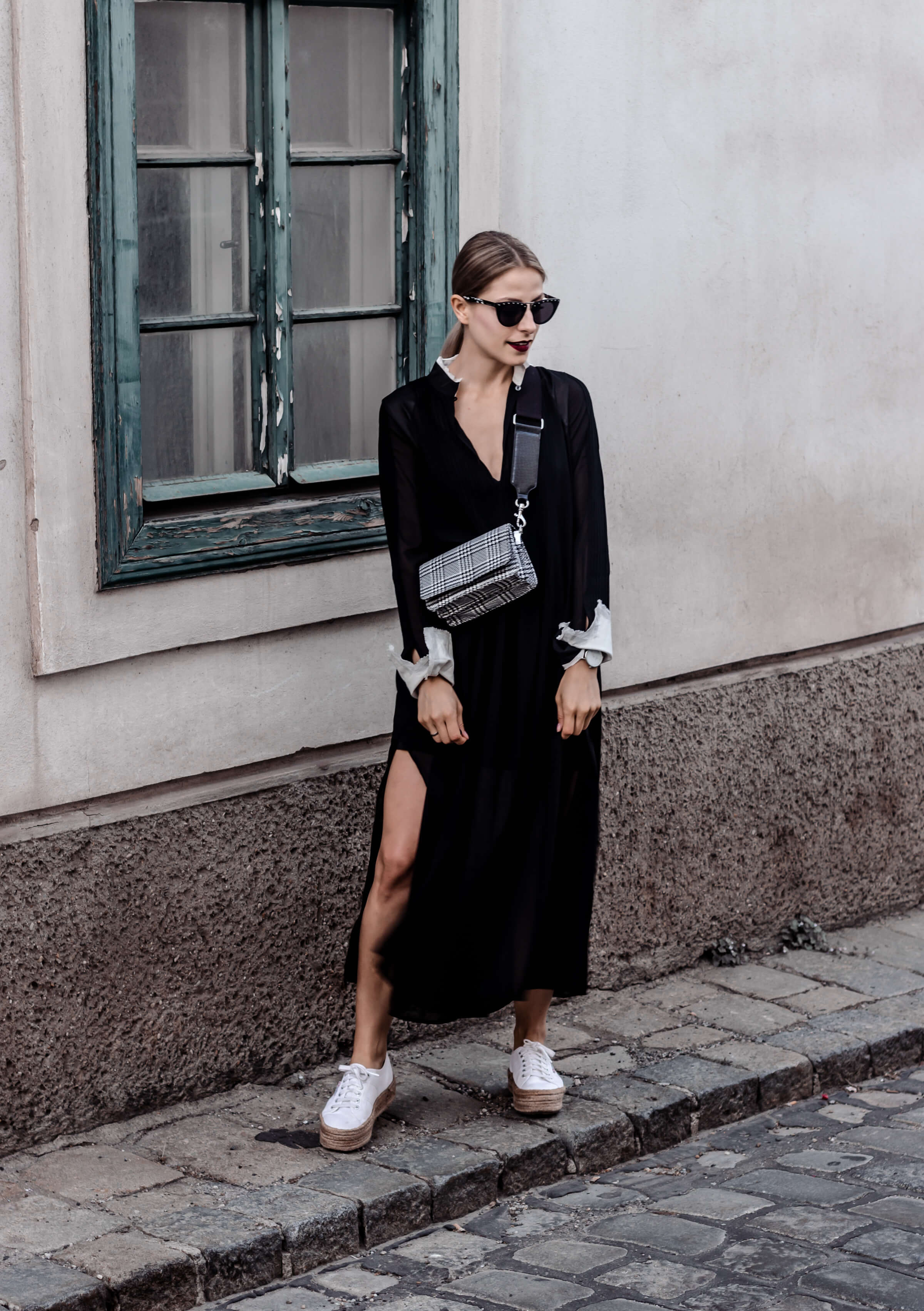 How to wear a long black dress