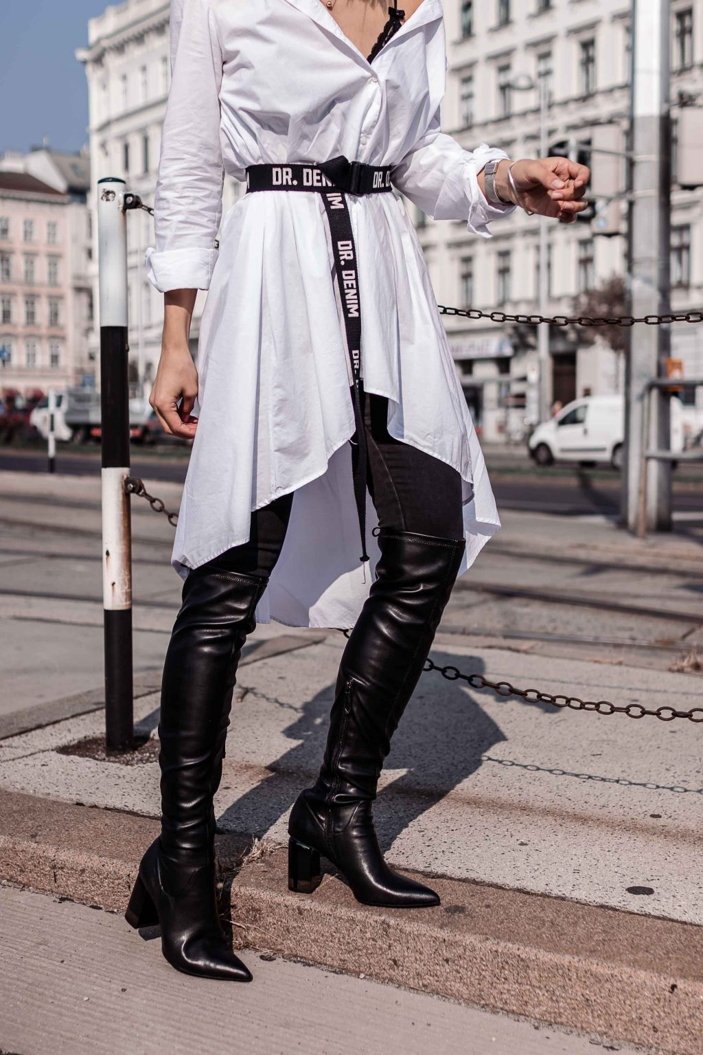 Over The Knee Boots Black Leather Street Style