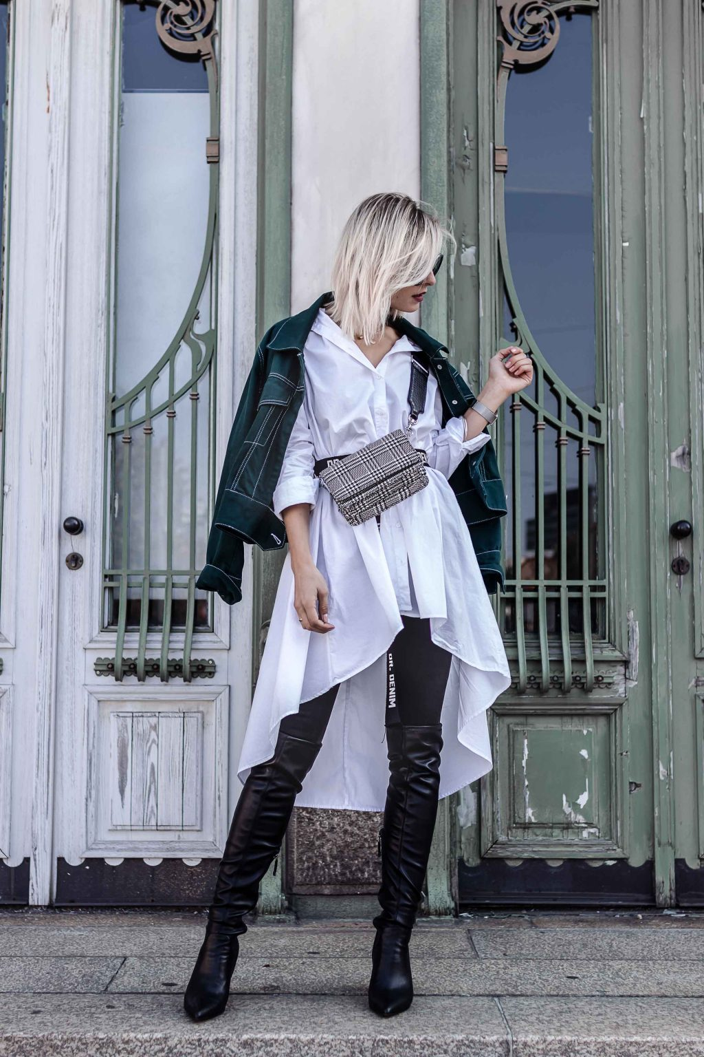 Long Button Down Shirt with Over the knee boots