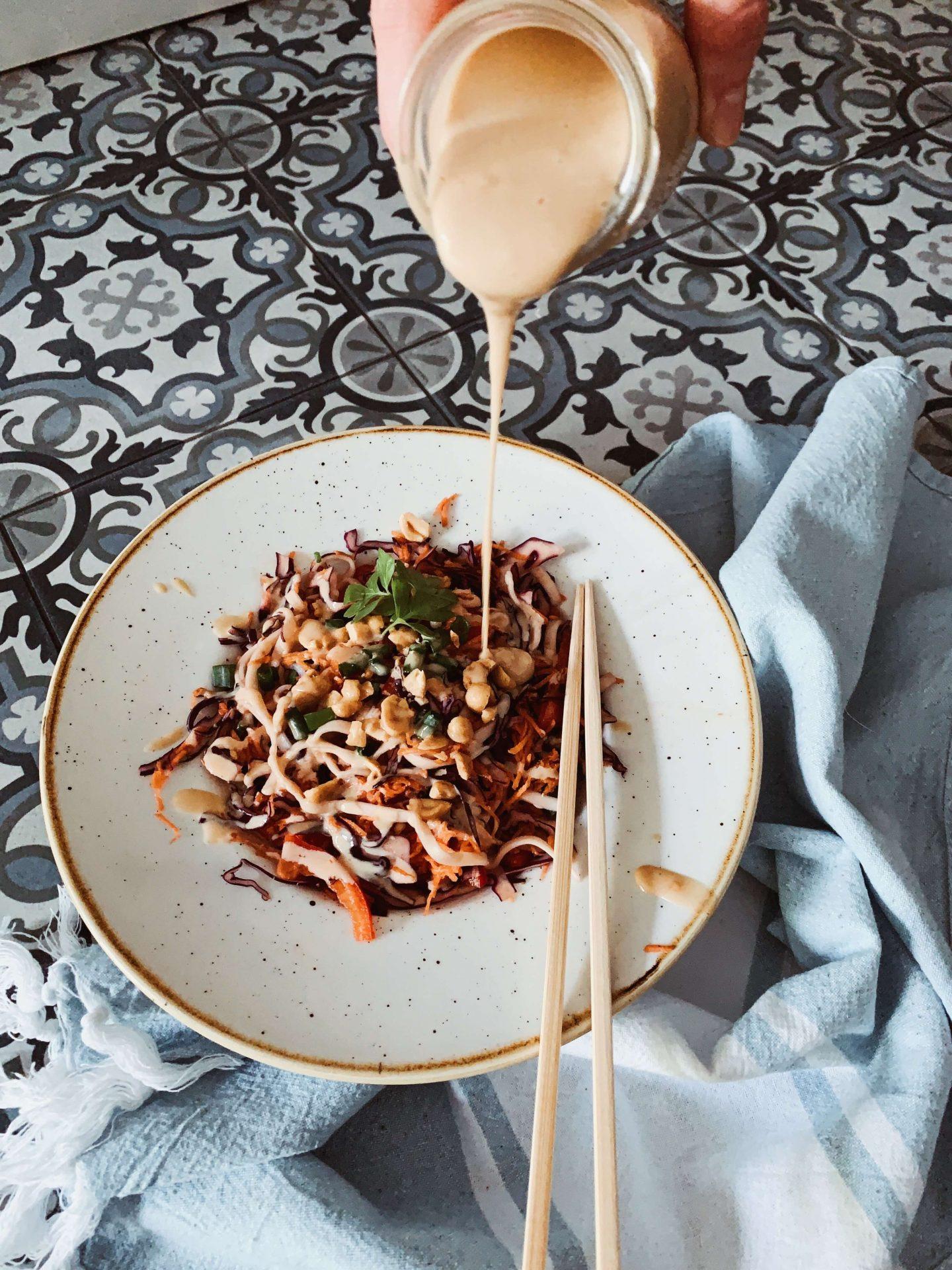 Veganer Thai Nudelsalat