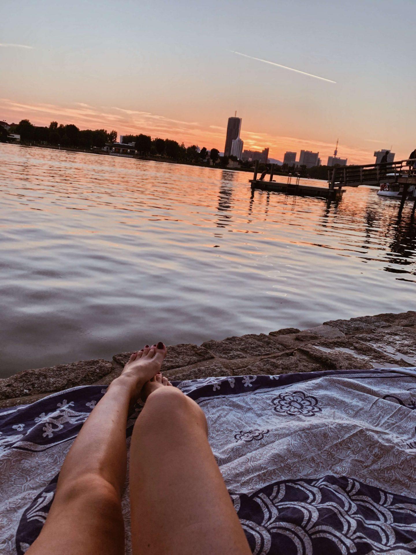Schwimmen an der Donau Wien